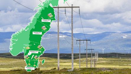 Elledningar och karta med Sveriges elområden