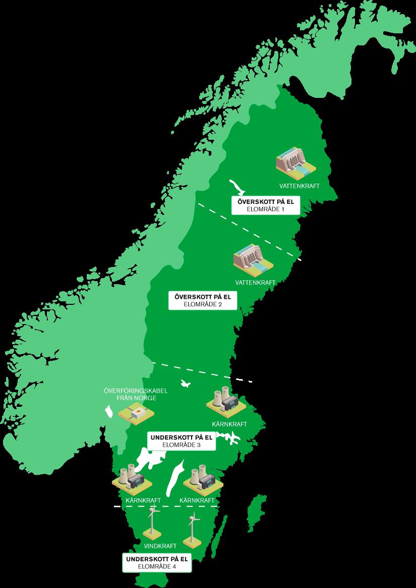 Karta som visar Sveriges elområden