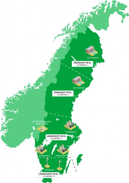 Karta över Sveriges elområden